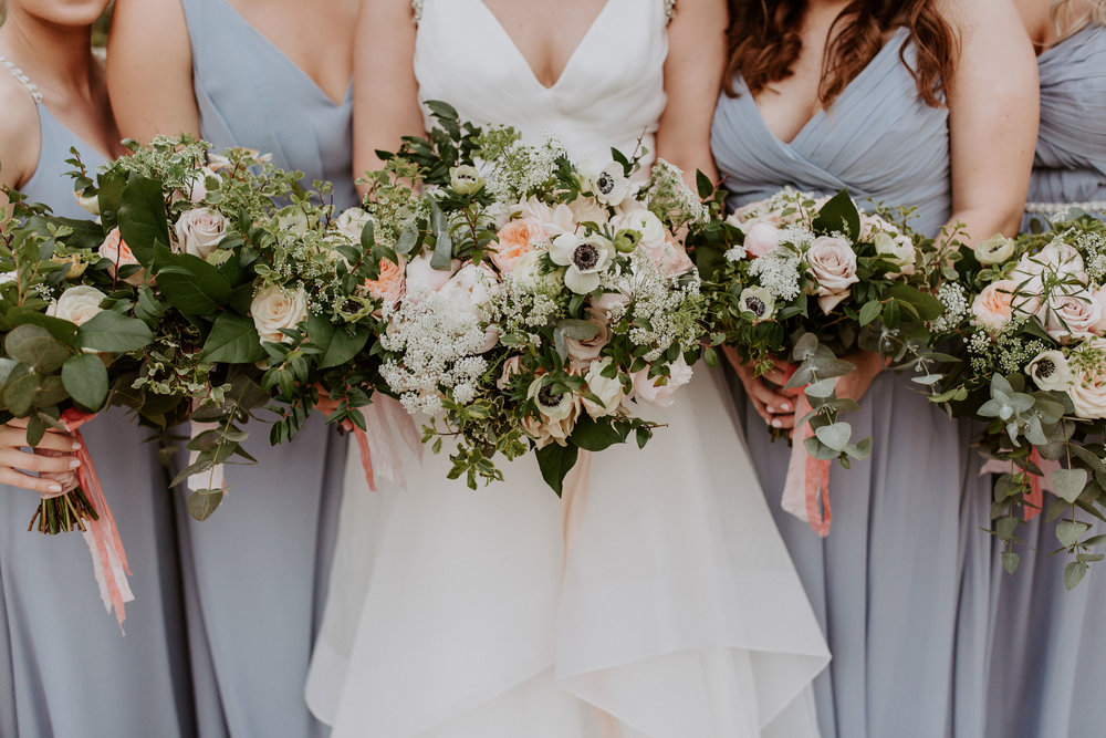 For the bouquets, I wanted lots of greenery and very airy and light flowers. They ended up being beautiful.
