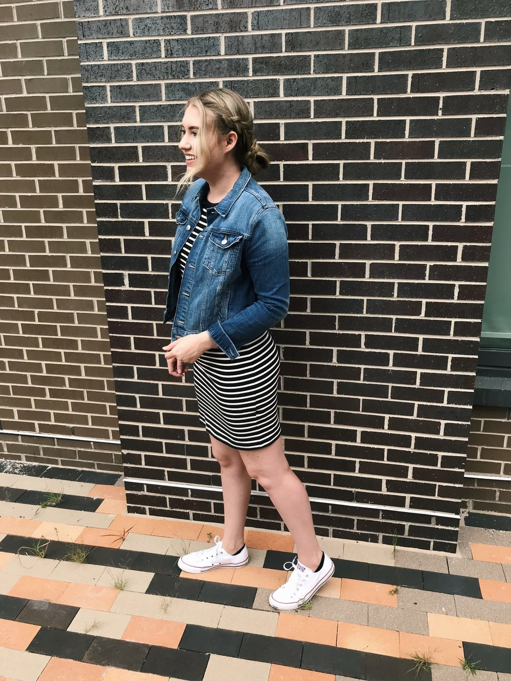 Dress: ( similar ) ( similar ) ( similar ) / Denim Jacket: ( similar ) ( similar ) / Shoes:  here