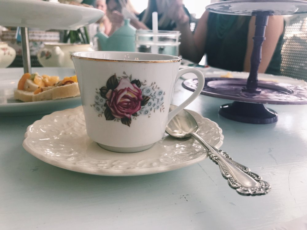 The tea shop has a variety of vintage tea cups! I loved that everyone had a different cup.