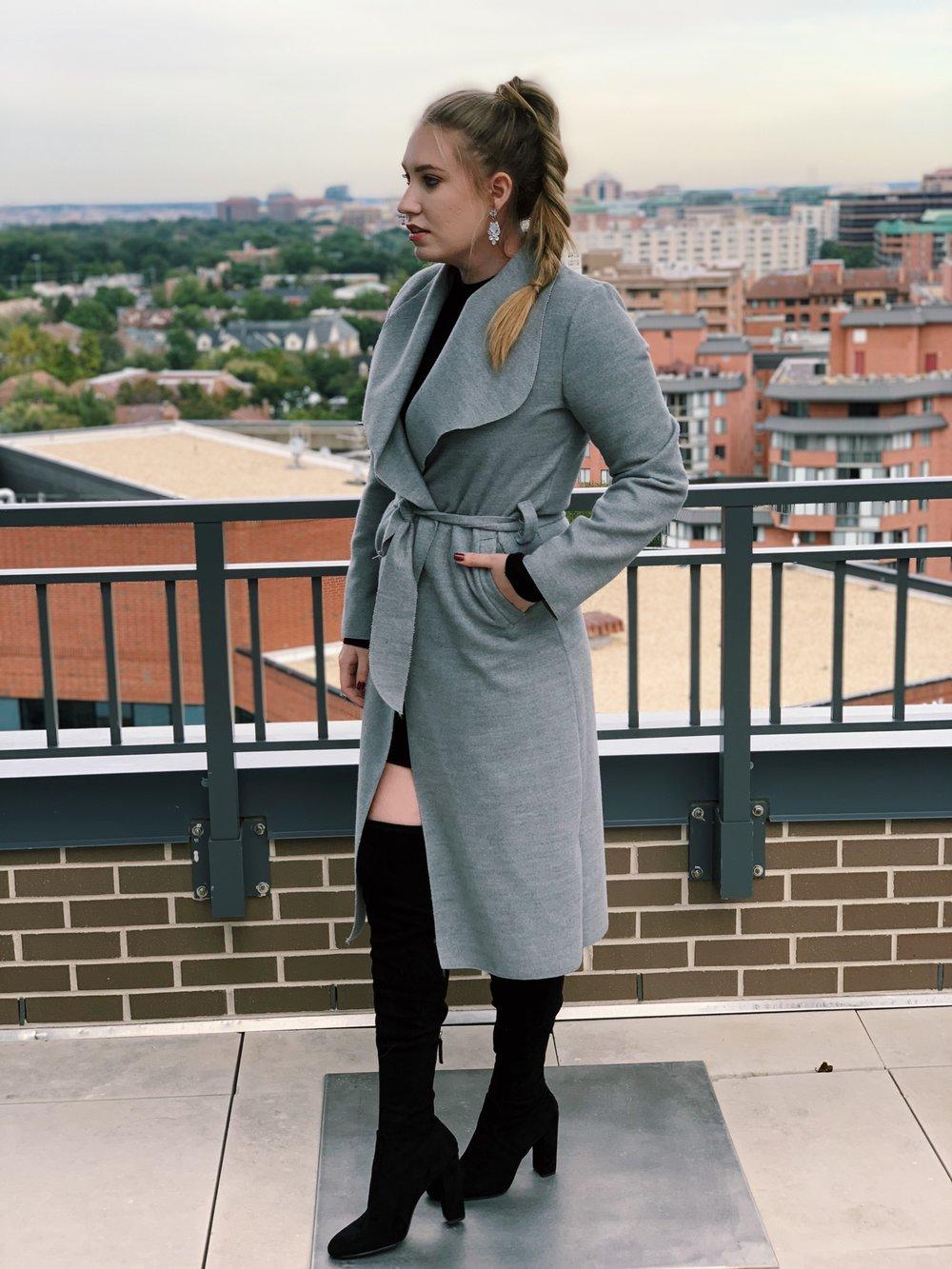 Coat:  here  ( similar ) ( similar ) / Dress: ( similar ) ( similar ) / Shoes:  here  ( similar ) / Earrings: ( option 1 ) ( option 2 ) ( option 3 )