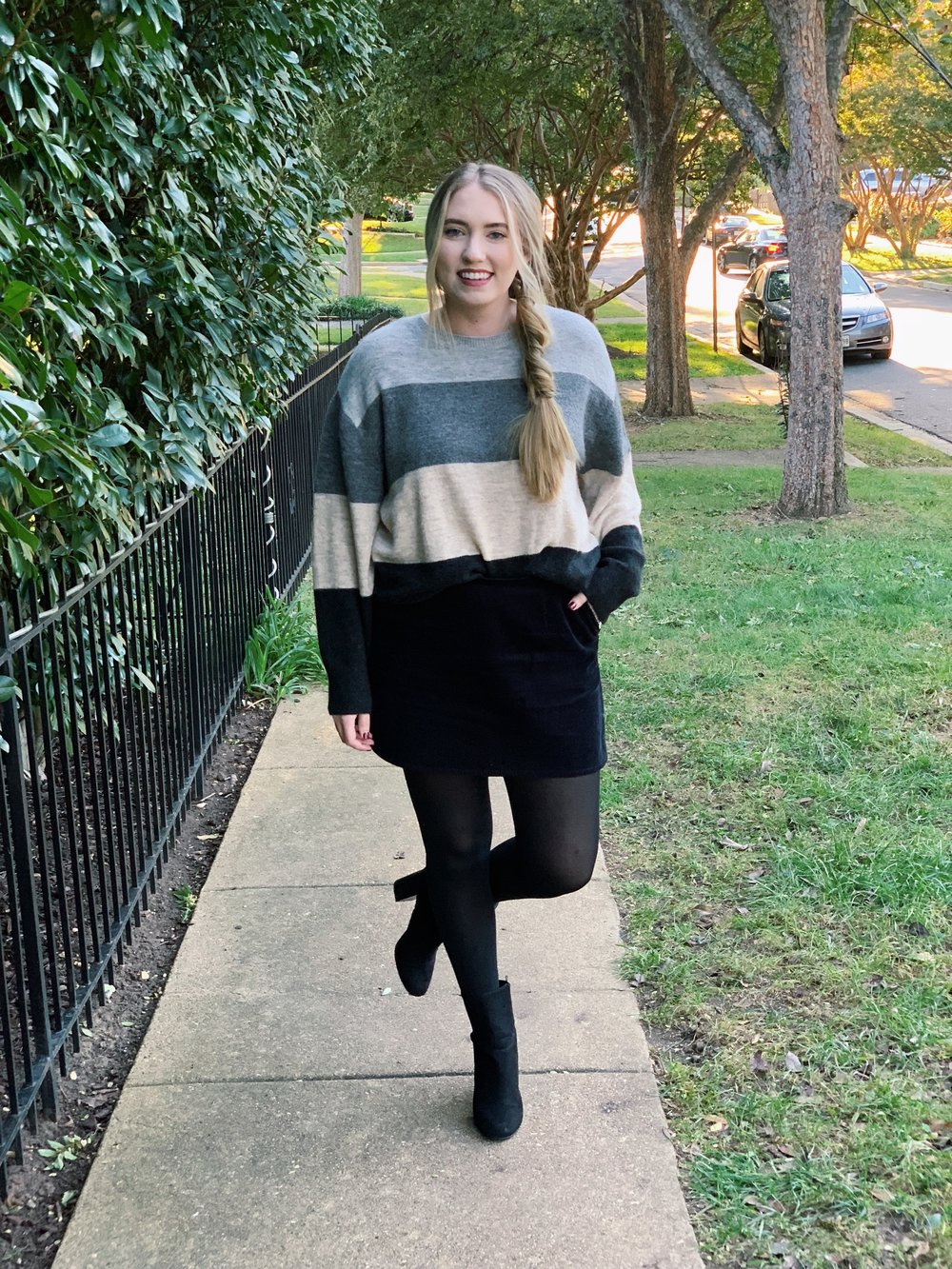 Sweater:  here  / Skirt: ( similar ) ( similar ) / Shoes:  here