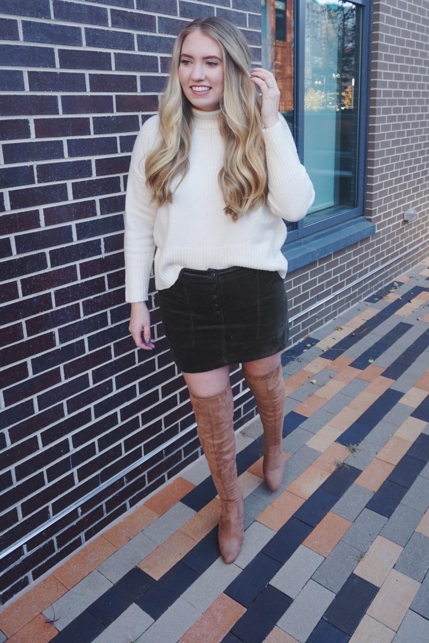 Skirt:  here  ( similar ) ( similar ) / Turtleneck: ( similar ) ( similar ) ( similar ) / Boots: ( similar , on sale!!!) ( similar )