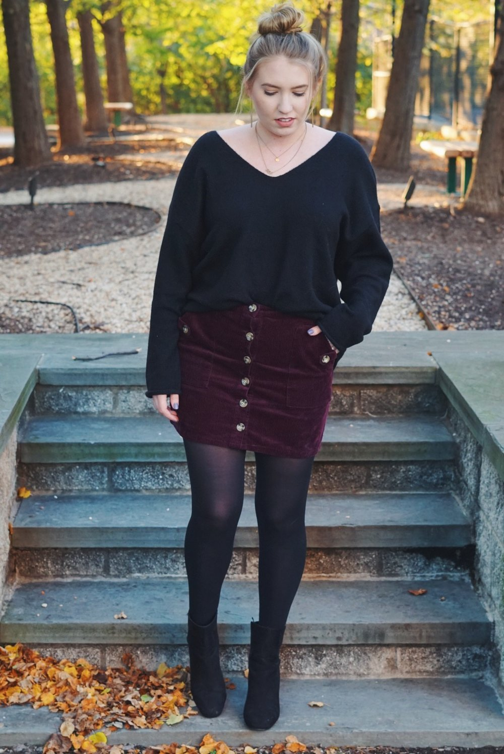 Skirt:  here  ( similar ) ( similar ) / Sweater:  here  / Shoes: ( similar )