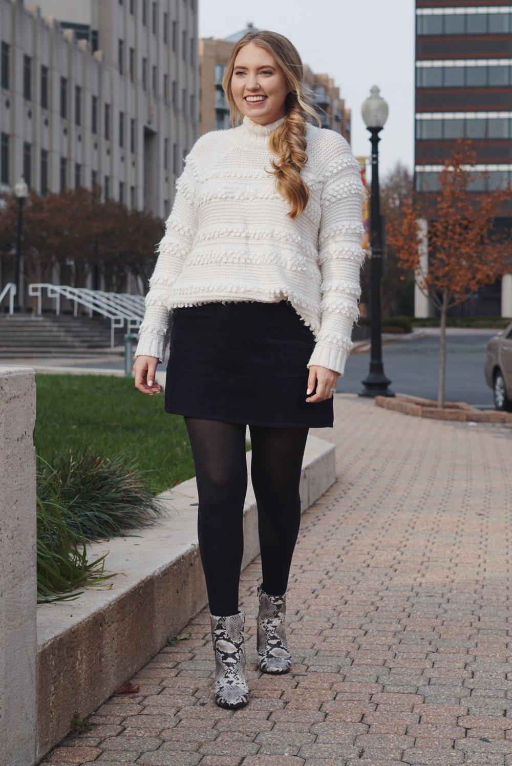 Boots:  here  ( similar ) ( similar ) / Sweater: ( similar ) ( similar ) ( similar ) / Skirt: ( similar ) ( similar )