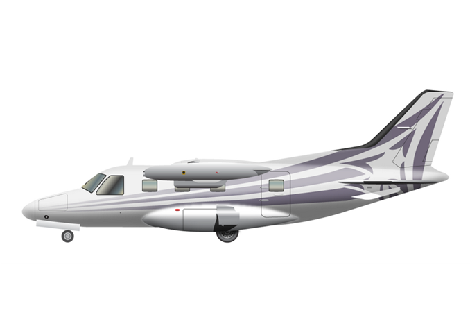 Mitsubishi MU-2 Marquise (MU-2B-60)Passengers (typical): 6Cabin Height: 4.3 ftCabin Width: 4.8 ftCabin Length: 16.1 ftBaggage total: 44 cu ftAverage Cruising Speed: 280 KTASMax Cruising Altitude: 31,000 ftFull Passenger Range: 784 NMLavatory: Yes, depending on the configurationGalley: Limited - © 2018, Conklin & de Decker Associates, Inc.
