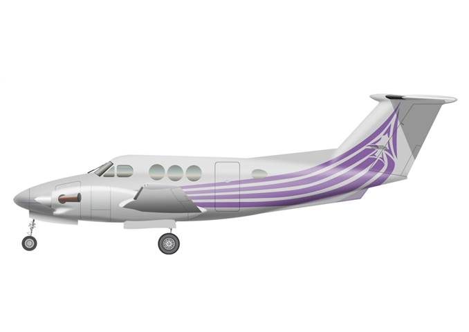 Beechcraft King Air F90-1Passengers (typical): 5Cabin Height: 4.8 ftCabin Width: 4.4 ftCabin Length: 12.4 ftBaggage total: 54 cu ftAverage Cruising Speed: 252 KTASMax Cruising Altitude: 31,000 ftFull Passenger Range: 941 NMLavatory: LimitedGalley: Limited - © 2018, Conklin & de Decker Associates, Inc.