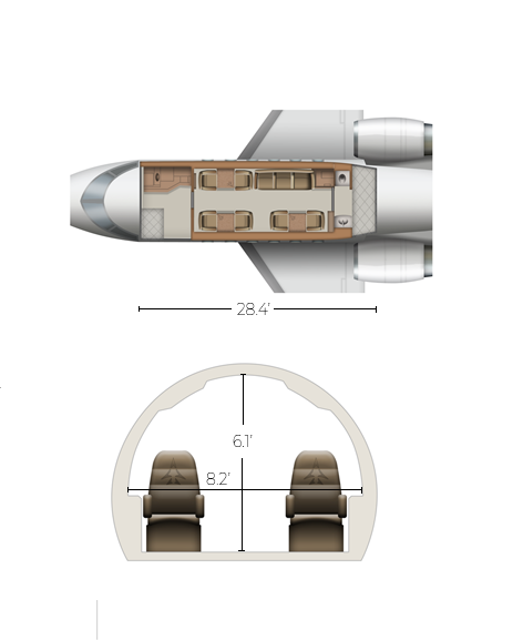 Bombardier Challenger 650 interior.  All drawings      © 2018, Conklin & de Decker Associates, Inc.