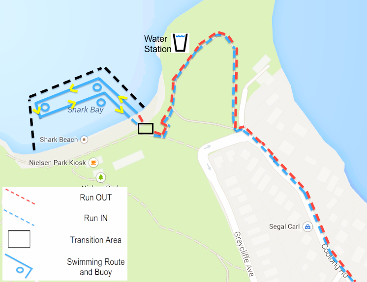 Nielsen Park - Competitors will enter (and exit) Nielsen Park via Coolong Road. Competitors will wind their way around Shakespears Point, descend the stairs and arrive at the beach on the eastern side where they can transition for the swim leg (300m).After the swim, put your runners back on and head out the same way you came in.