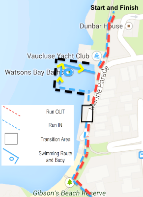 Watsons Bay - Registration will take place in front of the Watsons Bay Hotel, and will open at 6:45am on the day of the event.The first leg will involve running out of Watsons Bay via Gibson's Beach Reserve. On the return leg (Blue), there will be a swim (100m) at the Watsons Bay baths prior to finishing the course in front of the Watsons Bay Hotel.These Baths are an hidden treasure of the Sydney Harbour foreshore, and you could appreciate their beauty and breathtaking scenery as you finish your race.