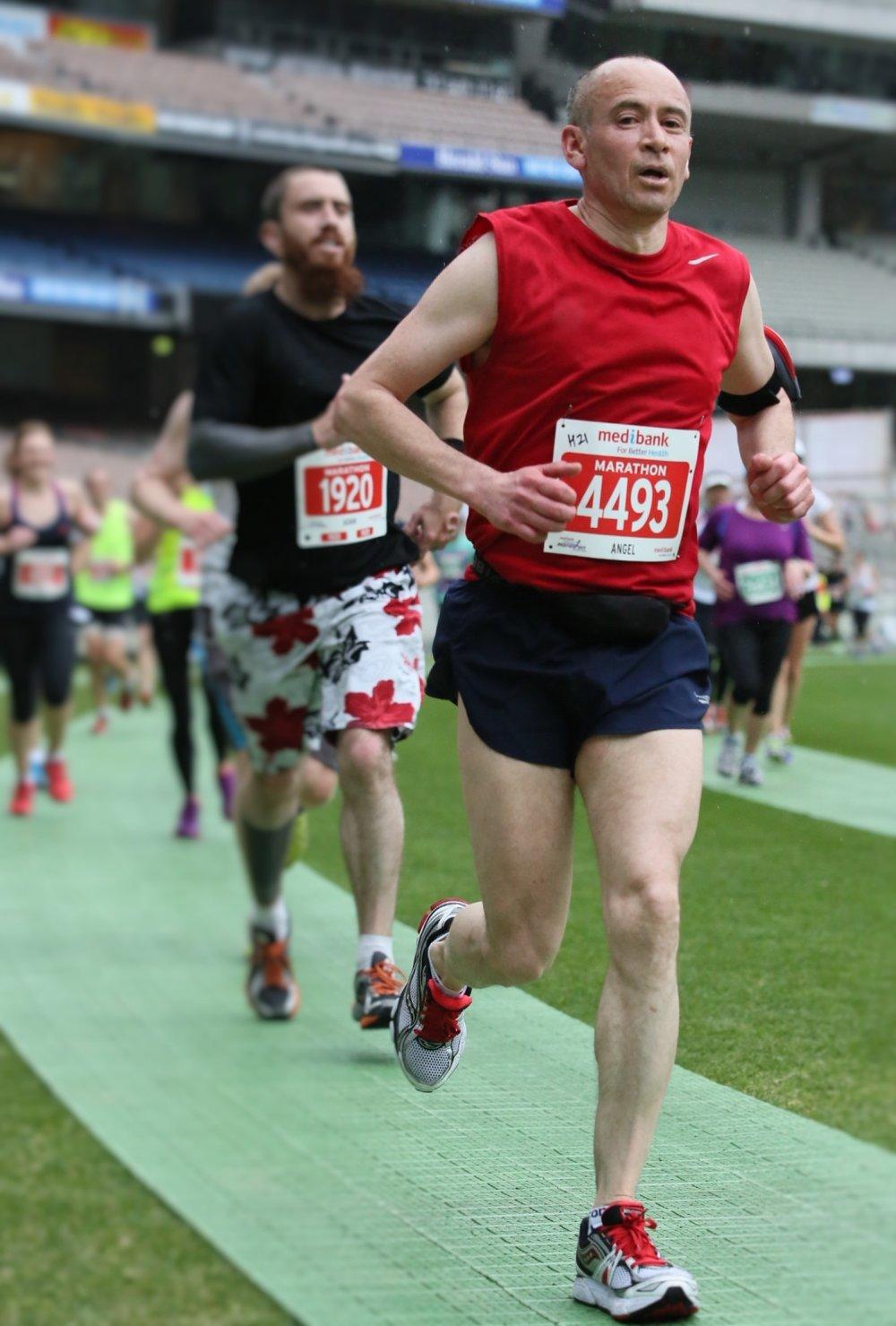 Angel running at Melbourne Marathon