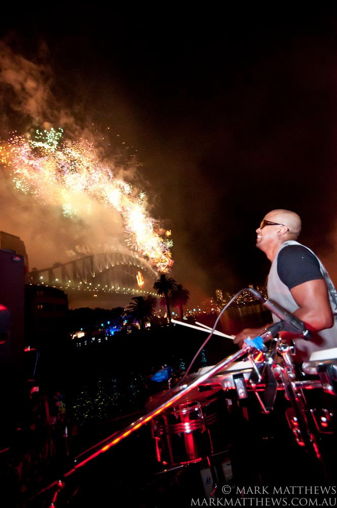 Mario playing at the NYE Sydney Celebrations in 2002. Photo by Mark Matthews