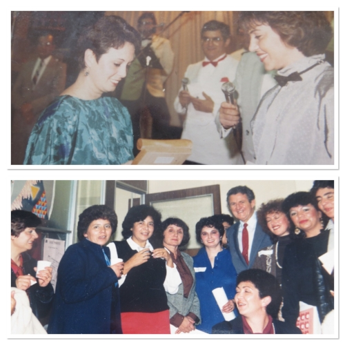 1 – Rafaela in 1985 receiving on behalf of CELAS a plaque from the Latin American Festival in recognition for the organization's work for the community. 2- The CELAS team in 1987 with then Immigración and Ethnic Affairs Minister Hon. Mick Young during the launch of a program to assist vulnerable women.