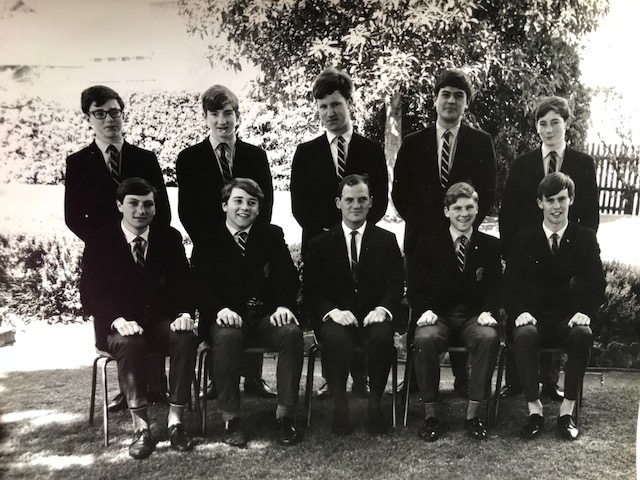 Caulfield Grammar debating team. Roger middle back row. -