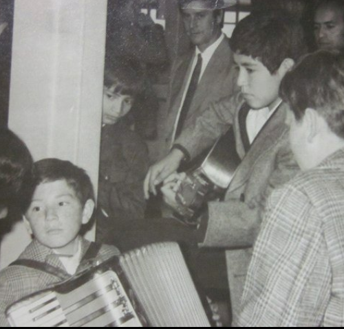 Alex with his accordion Honner in 1975 - He still has this same accordion at home.