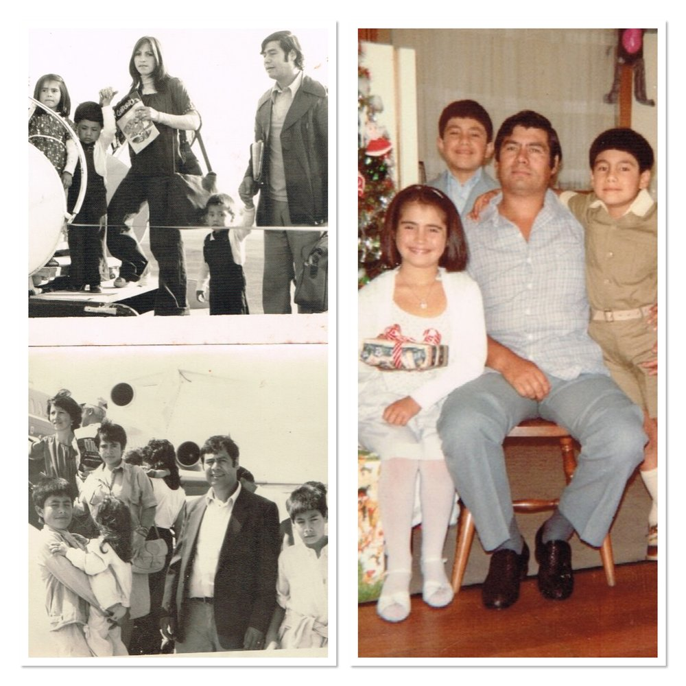 Julio and his family getting into the plane towards Australia in 1978 (left). Christmas 1983 (right)