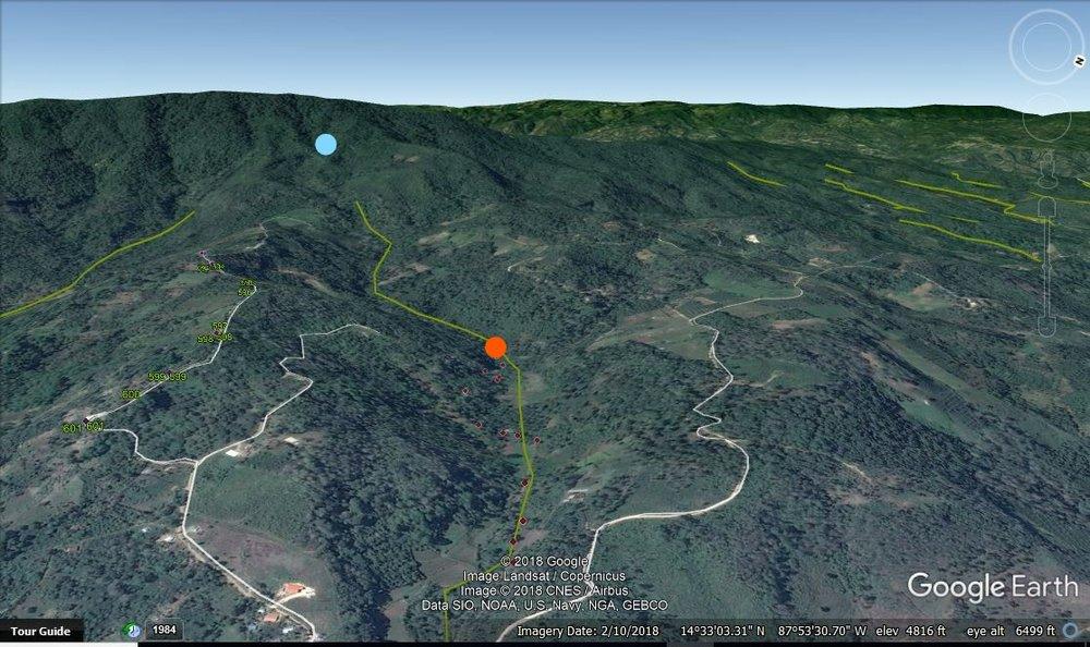 Mapa de la toma de Altamira esta se identifica con el punto naranjo, con el punto azul se representa la toma de Potrerillos.