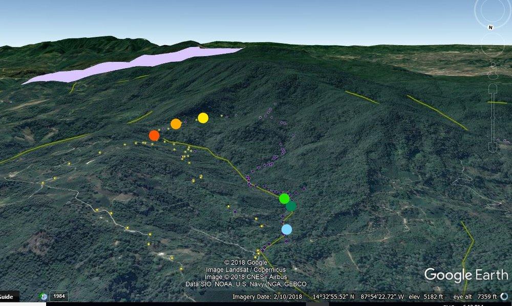 Los puntos naranjas son las tres tomas de Balibrea. Abajo 1.4km en la misma quebrada está las tomas de Porvenir. La ultima toma abajo, la azul, es la de Buenas Casas y Aguas del Padre La quebrada es la línea amarilla.