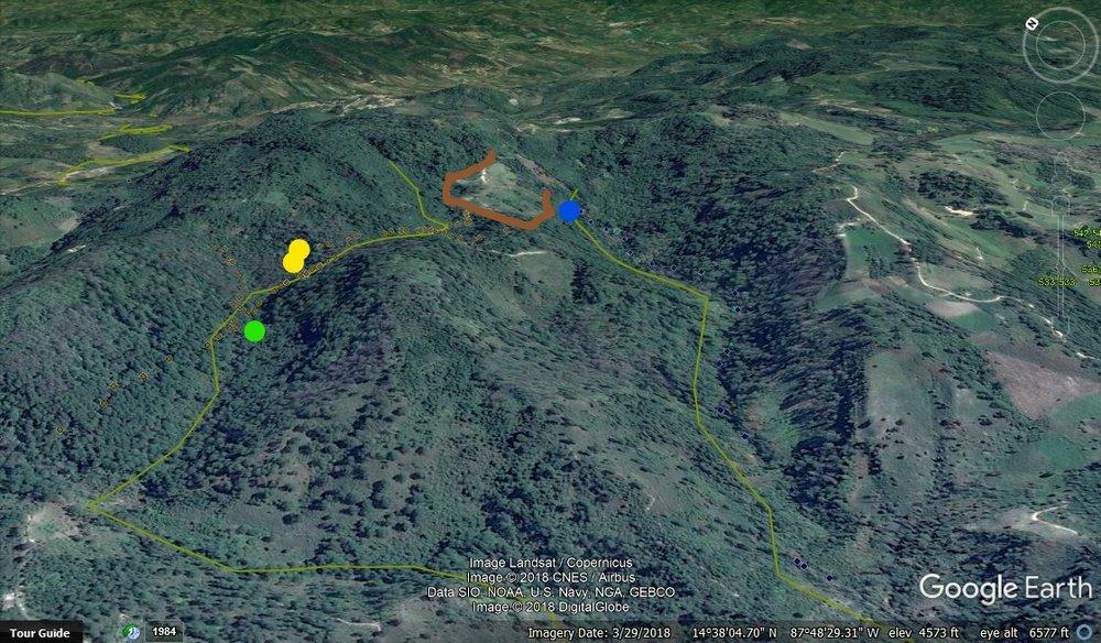 La Cuenca, el punto verde es la toma de 3 Paso 1, los puntos armarillos son de Chaguites y el azul es la toma de Las Casitas. El cultivo arriba con el color café está cantaminado los tres.