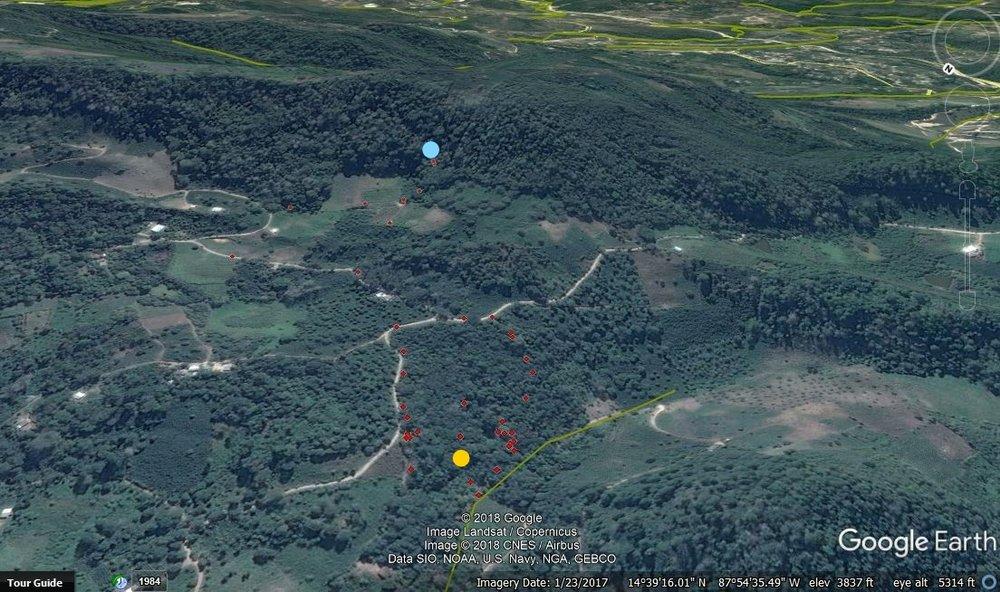 El mapa de Las Lagunas #3 y El Zapote #2. El Zapote #2 toma es el punto armarillo y el azul es la toma de Las Lagunas #3