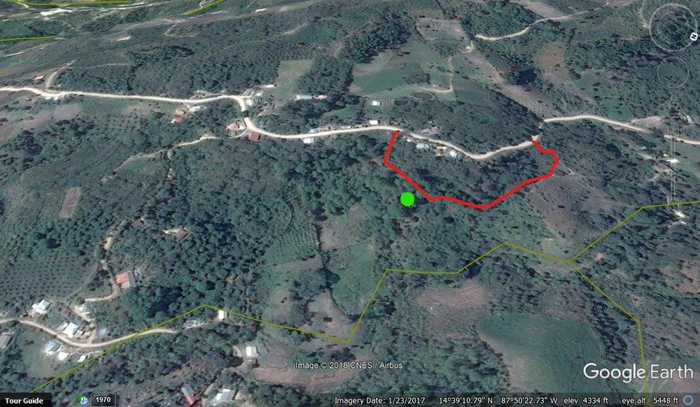 La toma de agua es el punto verde. Hay contaminación de café arriba donde está la línea roja