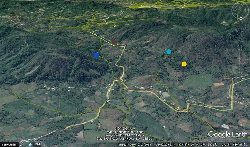 Las 4 tomas de Santa Cruz. El punto azul oscuro es del proyecto #4, punto armarillo es de #3, punto azul claro es de #2, y punto café es de proyecto #1