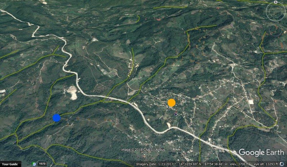 El punto azul es el nuevo proyecto y la tubería va al tanque nuevo en El Socorro