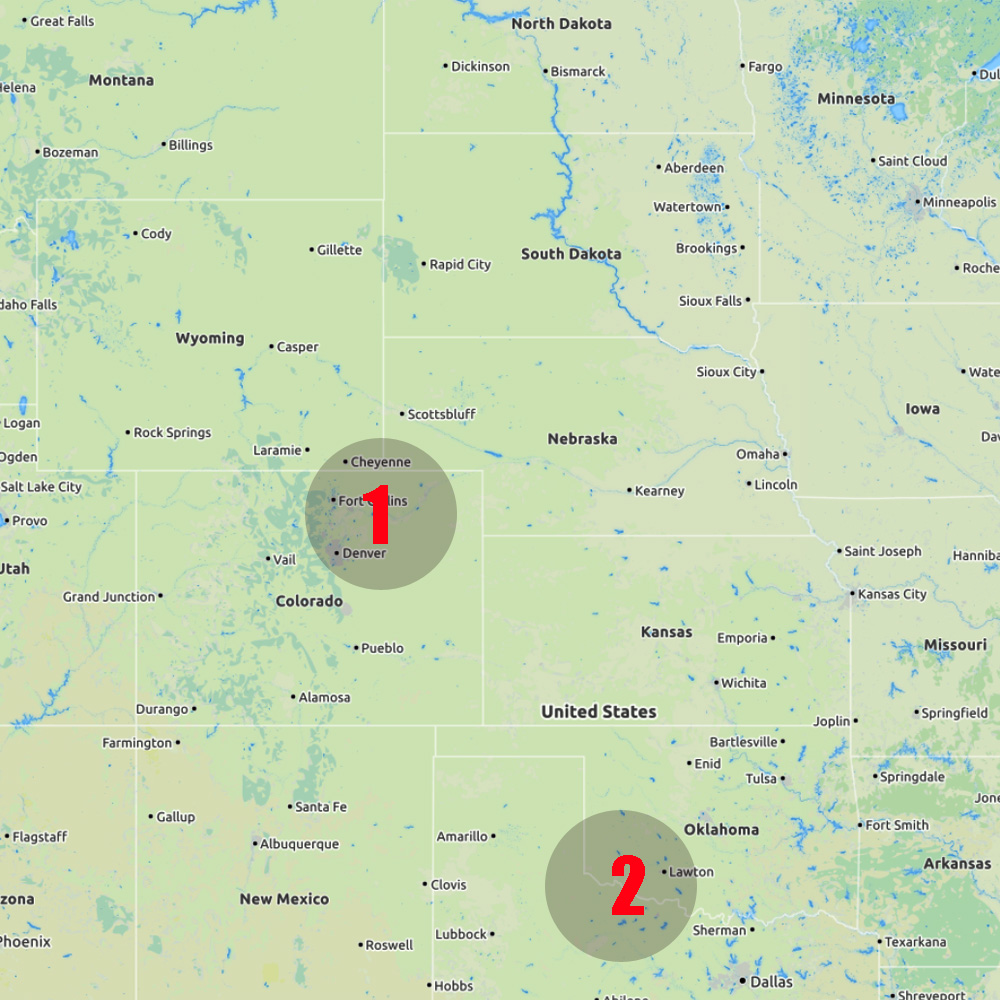 13 May - Colorado (Team 1) Oklahoma (Team 2) - Start: Hot Sulphur Springs, Co (T1) Amsterdam (T2)End: Fort Collins, CO (T1), Childress, TX (T2)Distance covered: T1: 276 miles (444 km), T2: 230 miles (370 km)Team 1 intercepted two weak storms in north-eastern Colorado. No significant weather encountered. Teams 2 arrived in Dallas and drove westward to the Texas Panhandle, just in-time so see their first (weak) storm.