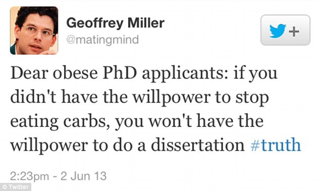 A tweet from a NYU professor Geoffrey Miller