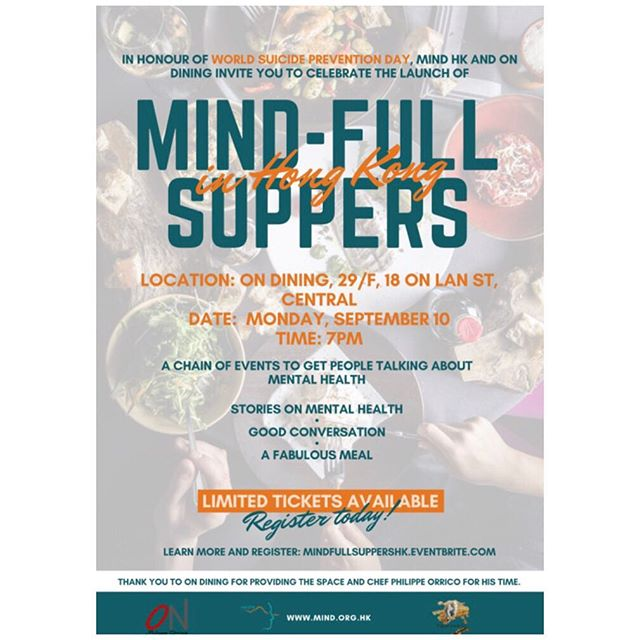 Exciting times - taking place today is our first ever #mindfullsupper restaurant takeover. Thank you to the Michelin starred @on_dining for hosting. All proceeds going to @mindhongkong