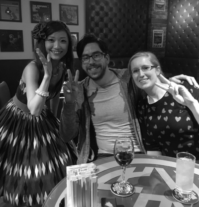 March 2017: Laura and Tom pose with the lead singer of sensational Japanese covers band Palm Springs at Grease Bar, Kyoto, Japan.
