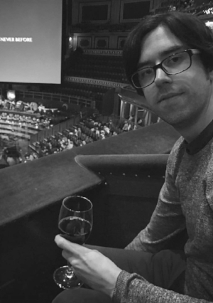 November 2016: Tom enjoys wine and horror at the Albert Hall, during an orchestral performance of Aliens.
