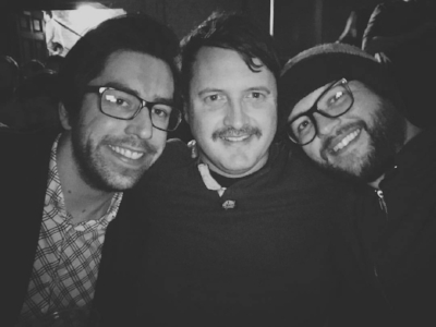 February 2017: Tom with the Old Devils Brendan and Rick catching up and arguing incessantly ahead of Conor Oberst in Manchester.