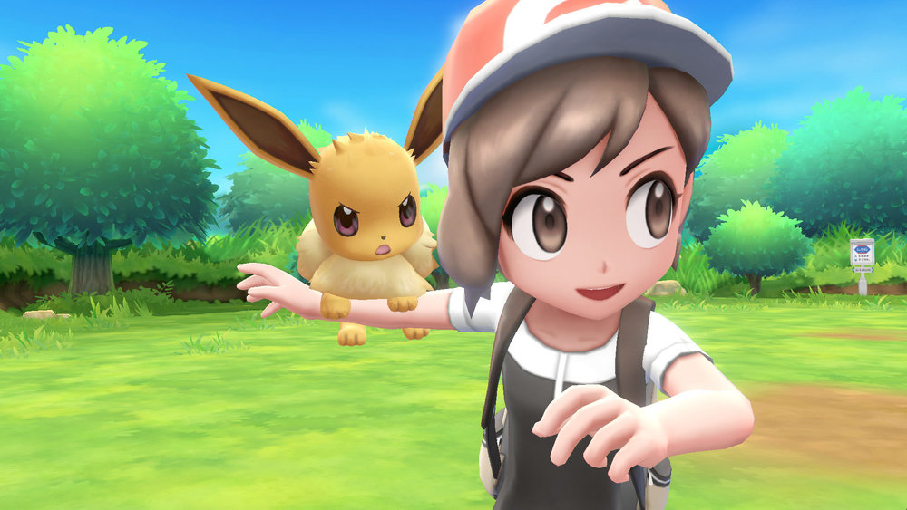 Pokémon Interaction  -       Along with wild Pokémon walking about, your party members will possess the same privilege! As I stated previously, this game is considered a 'Pokémon Yellow' remake in the Kanto region. In that particular game, when you are given the Pikachu as a starter, he refused to live in his Pokéball. Thus, birthing the walk along Pokémon mechanic. This was also used in the remake of the second generation remakes 'SoulSilver' and 'HeartGold', which let the first member of your party follow behind you. In this game, it looks as though we will have this same mechanic, as well as incorporating the 'petting' mechanic from the last generation. Lucky for us, we will have Pikachu or Eevee riding on our characters shoulders as well as a walk along. Are you excited yet?