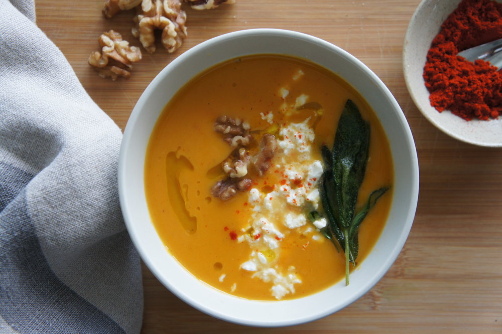 Roasted Squash Soup withWalnut & Sage Marinated Feta -