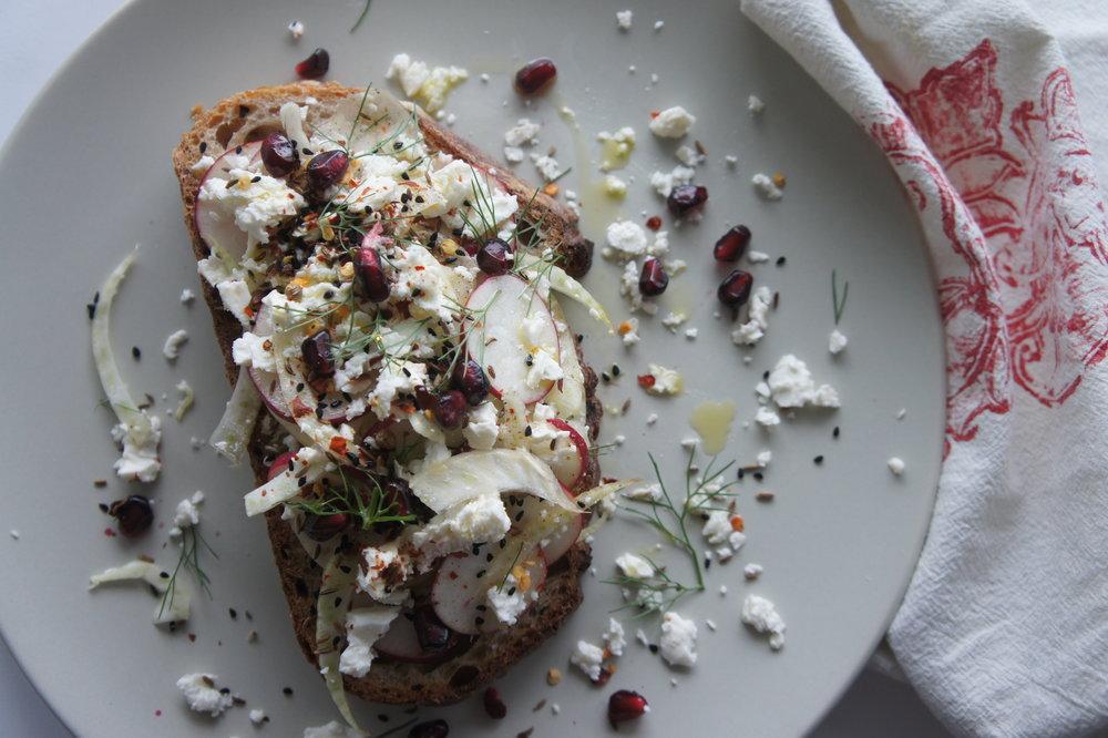 Fancy Toast with Fennel, Radish & Harissa Marinated Feta -