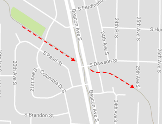 After about ½ mile the trail comes to Beacon Street where it continues directly across the street. Be careful not go right here as this will put you onto the Beacon Ave Trail, which is also fun but isn't the Chief Sealth Trail.
