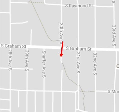 The trail stops at 30th Ave S. briefly. Take a right and go down 30th Ave S. across S. Graham St. and the road will turn back into the trail.