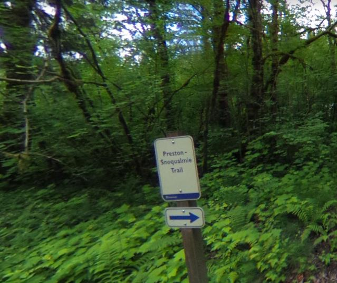 - Once you cross the road you will see a sign telling you to go right to stay on the Preston-Snoqualmie trail. Follow that sign!If you go left, the shoulder disappears very quickly and this road can have heavy traffic.