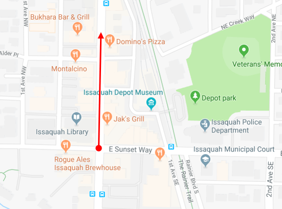 - This route starts in downtown Issaquah at E. Sunset Way and heads north on Front St. N. There are a number of places to park with Depot Park nearby.