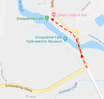 - Snoqualmie Parkway will run into Railroad Ave, where you'll go left. This will take you across the Snoqualmie River where you can now hear the falls off to your right.