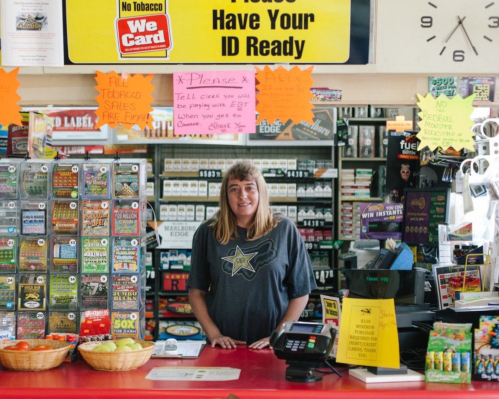 Kristian Thacker . April 24, 2014. Clerk at BP station on US 19E. Spruce Pine, Mitchell County, North Carolina.