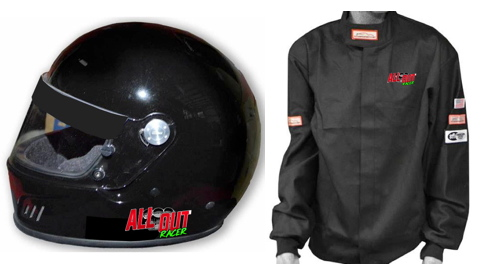Racer Direct has produced these embroidered and logoed SFI safety pieces exclusively for the ALL OUT Racer. If you need a new helmet or fire jacket purchase one at checkout and pick it up at our event. If you win a class you get $100 for Helmet and $50 back for a jacket.