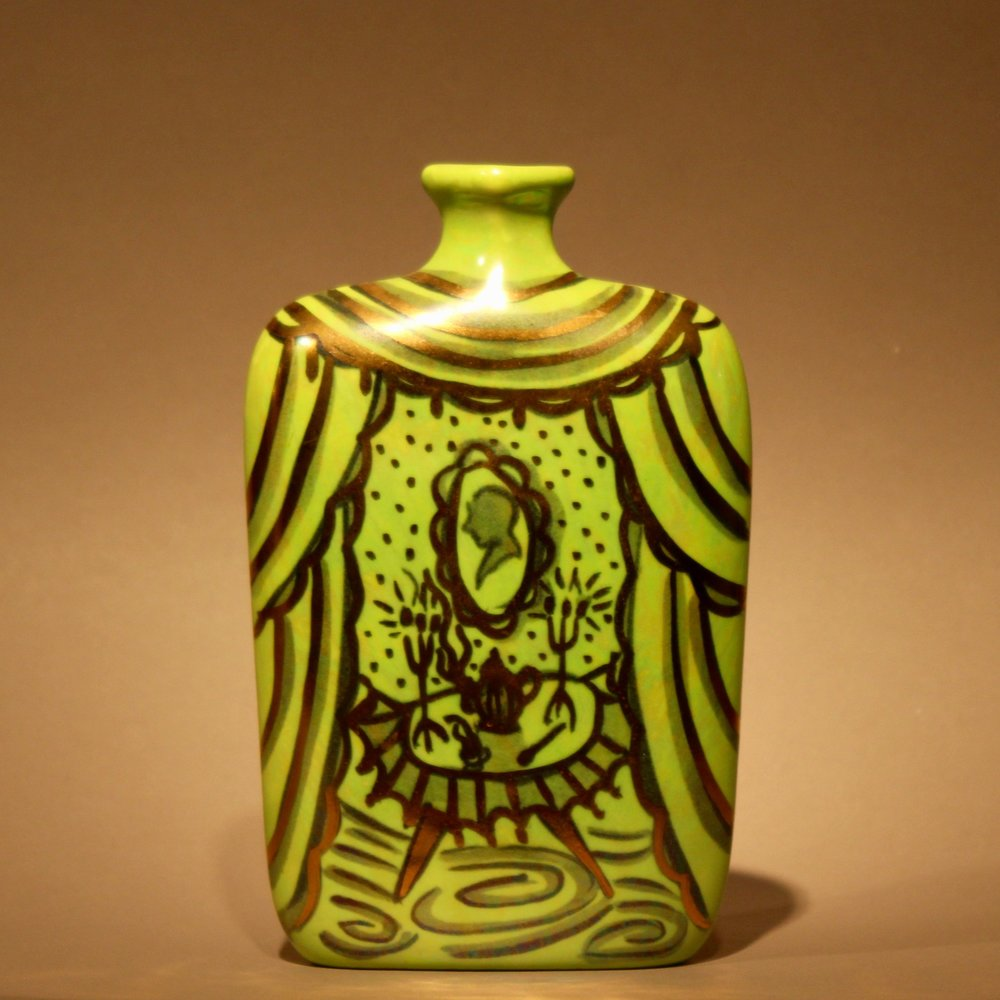 """Dimensions: 7""""H  Year: 2008  Medium: Low fire ceramic vase with gold overglaze details  Cost: $350"""