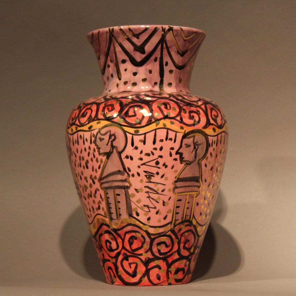 """Dimensions: 12"""" H  Year: 2009  Medium: Low fire ceramic vase with gold overglaze details  Cost: $950"""