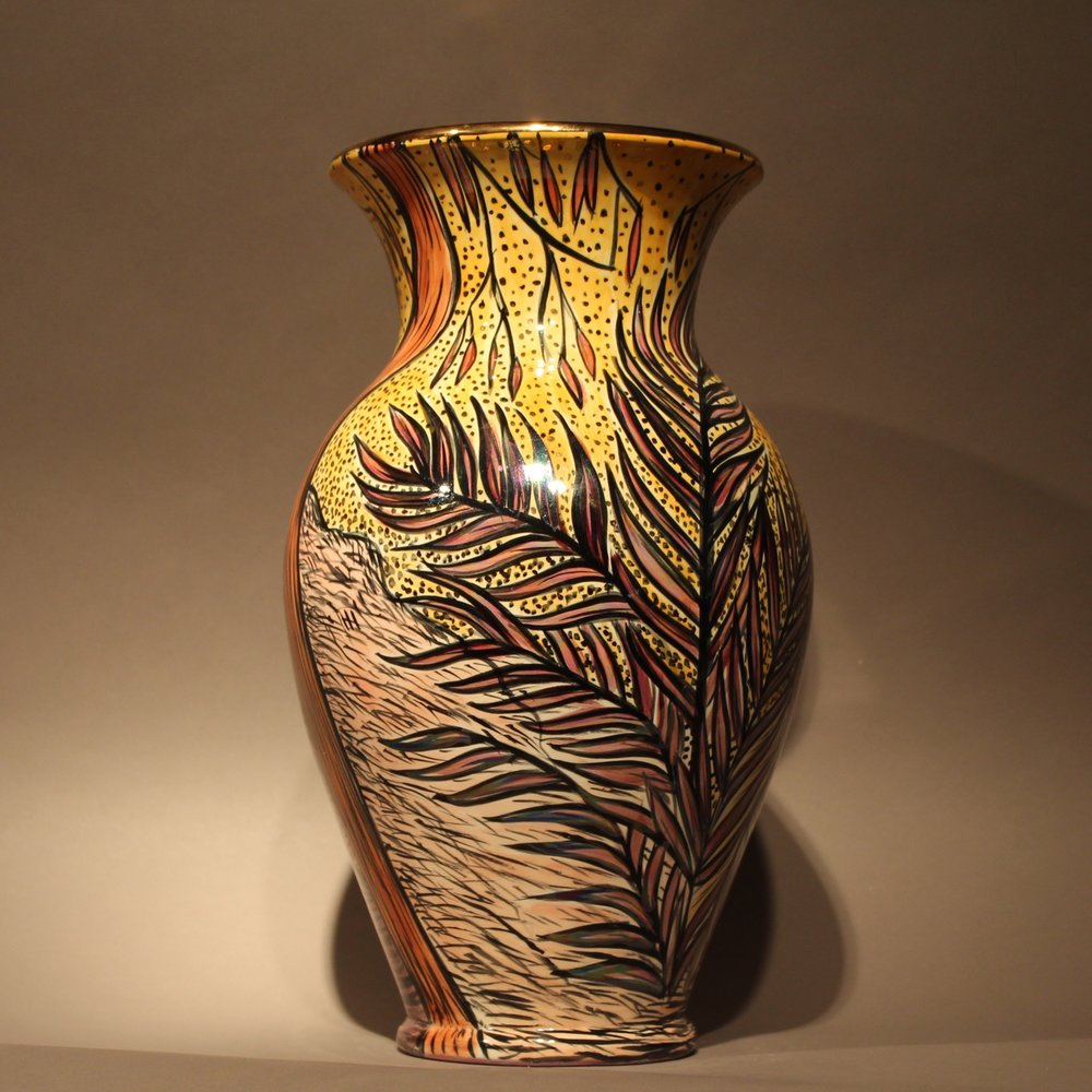 """Dimensions: 13.5 """" H  Year: 2013  Medium: Luster and Gold overglaze on low fire ceramic vase  Cost: $3000"""