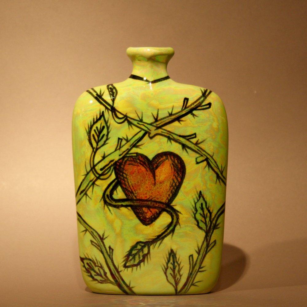 "Dimensions: 6"" H  Year: 2010  Medium: Luster overglaze on low fire ceramic vase  Cost: $350"