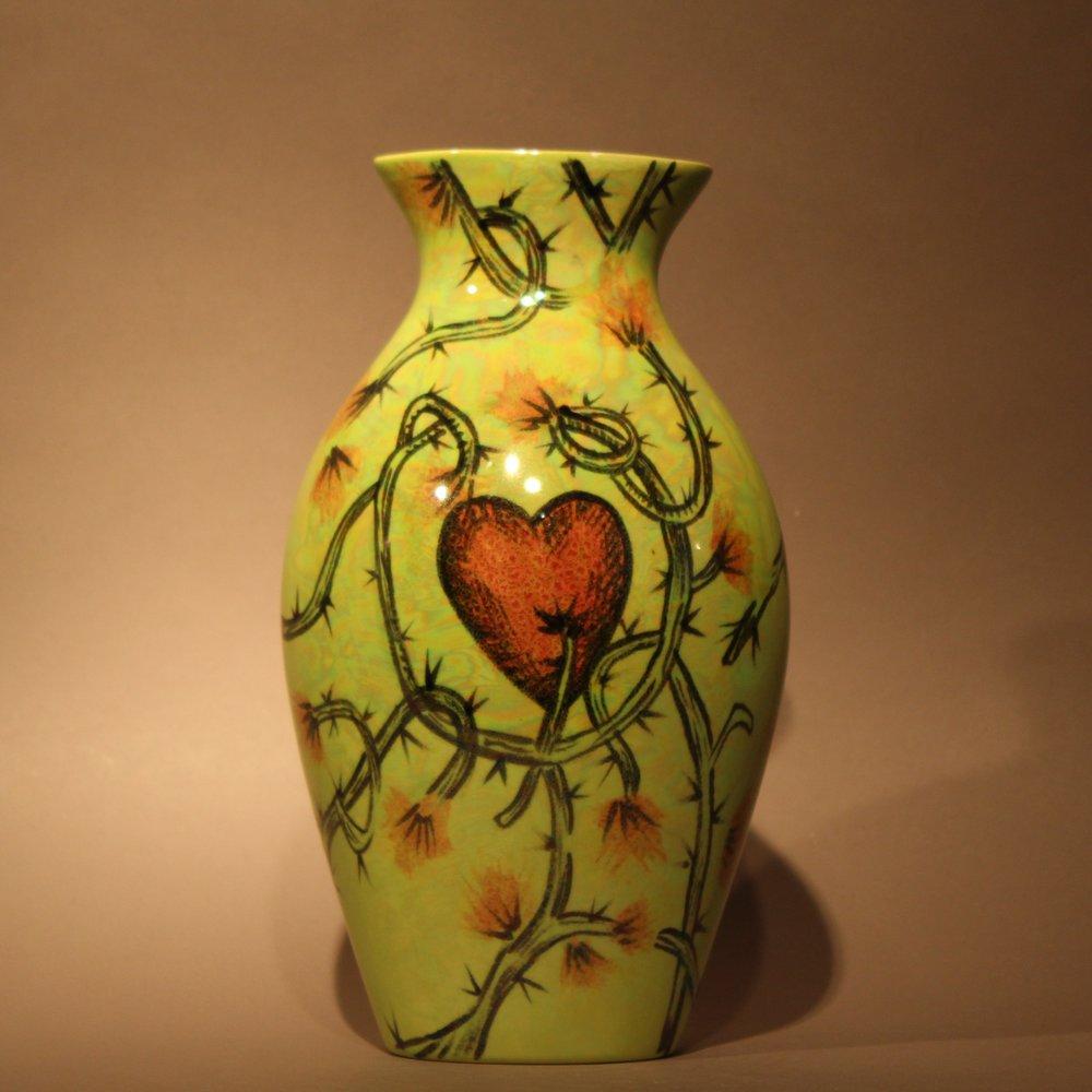 "Dimensions: 9.5"" H  Year: 2010  Medium: Luster overglaze on low fire ceramic vase  Price: $750"