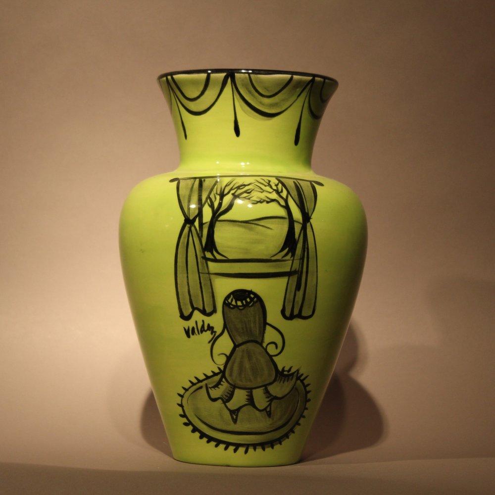 "Dimensions: 10.5"" H  Year: 2007  Medium: Luster overglaze on low fire ceramic vase  Price: $850"