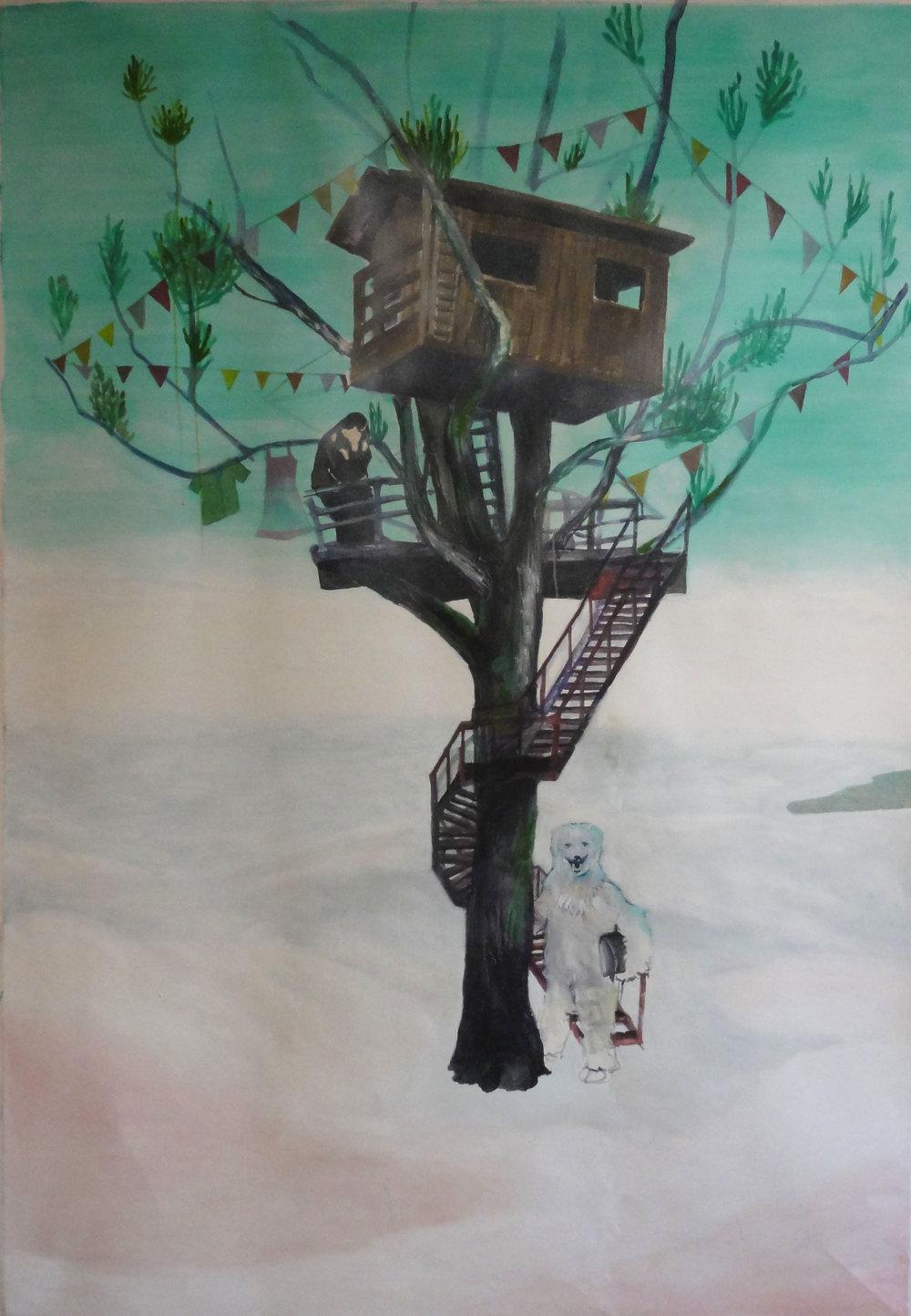 An Icebear a treehouse, flags, a shirt, a dress and the kiss