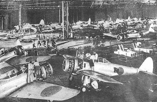 The infamous 'Zero' fighter planes being produced during WWII (Source: https://ww2-weapons.com)